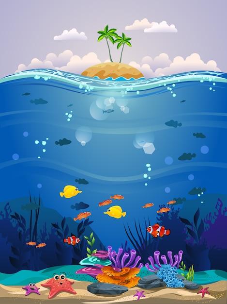 Hermosa escena submarina. hermoso fondo submarino con arrecifes de ...