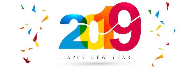 Hermosa feliz año nuevo 2019 banner festival de texto vector gratuito