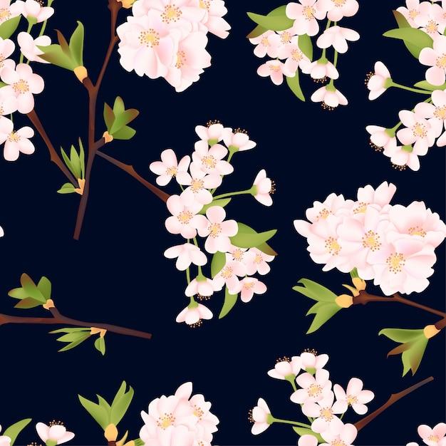 Hermosa flor de cerezo de patrones sin fisuras Vector Premium