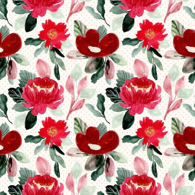 Hermosa flor roja acuarela de patrones sin fisuras Vector Premium