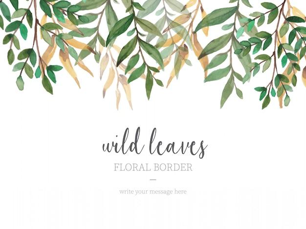 Hermosa frontera con hojas silvestres vector gratuito