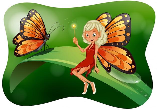 Hermosa hada con ilustración de mariposa vector gratuito