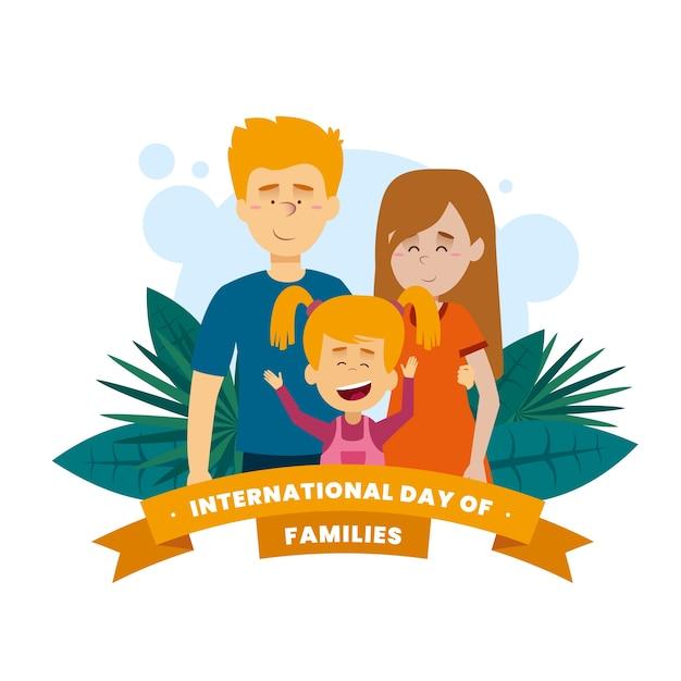 Hermosa ilustración de familia feliz estar juntos vector gratuito