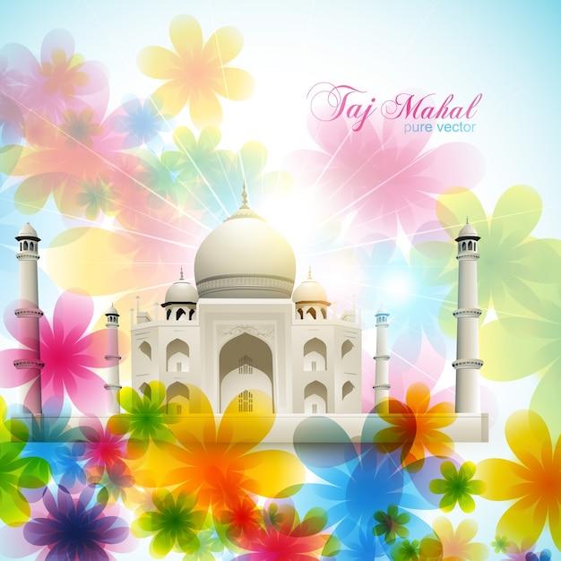 Hermosa ilustración floral del taj mahal vector gratuito