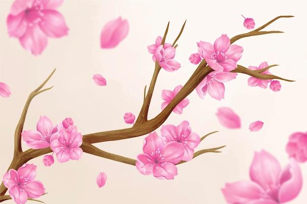 Hermosa ilustración de flores de sakura acuarela vector gratuito