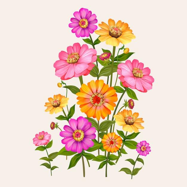 Hermosa ilustración de planta de flor de zinnia vector gratuito
