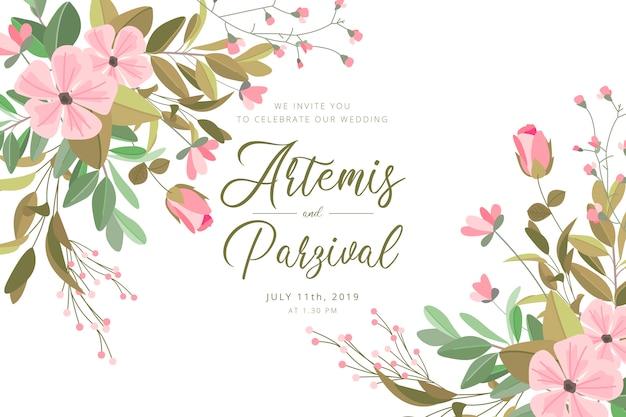 Hermosa invitación de boda con flores y hojas vector gratuito