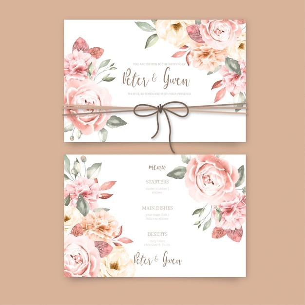 Hermosa invitación de boda con flores vintage vector gratuito