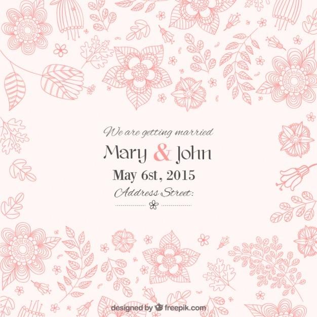 Hermosa invitación floral de la boda | Descargar Vectores gratis
