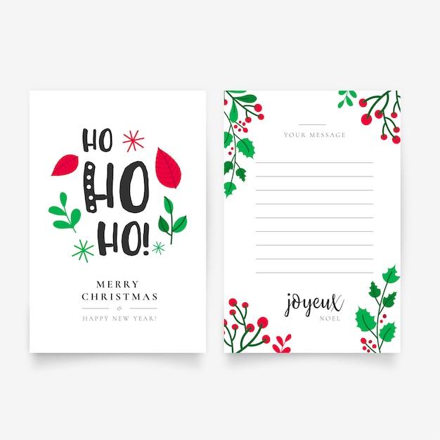 Hermosa mano dibujada plantilla de carta de navidad vector gratuito