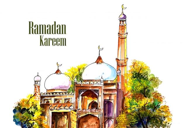 Hermosa mezquita jadeando fondo de ramadán kareem vector gratuito