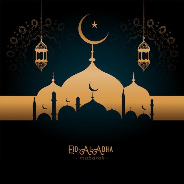 Hermosa mezquita de oro y lámparas eid-al-adha saludo vector gratuito