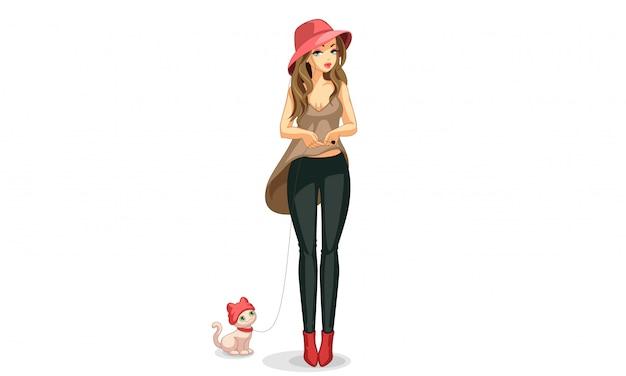 Hermosa modelo de moda con su mascota. Vector Premium