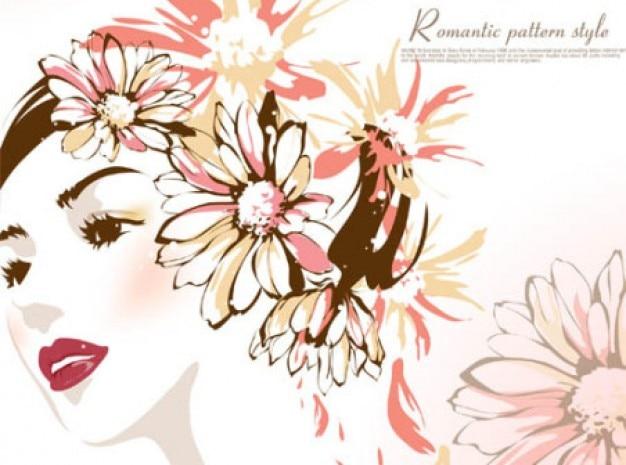 Hermosa Mujer Con Flores En La Cabeza Descargar Vectores Gratis