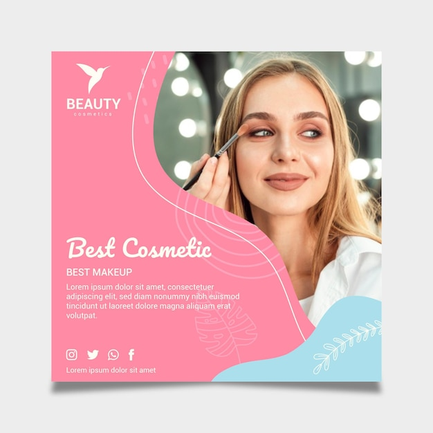 Hermosa mujer con flyer cuadrado de maquillaje vector gratuito