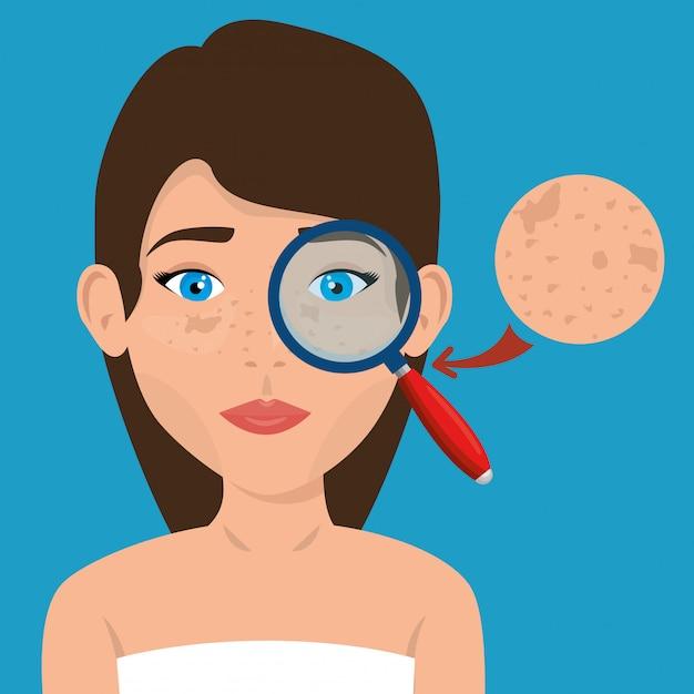 Hermosa mujer en tratamiento facial vector gratuito