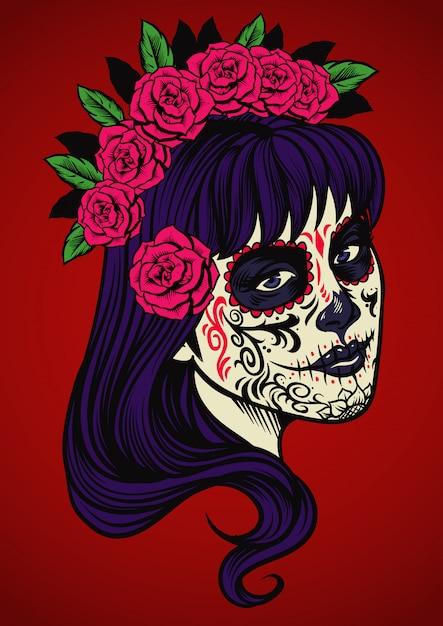 Hermosa Mujer Vestida Con Calavera De Azúcar Maquillaje