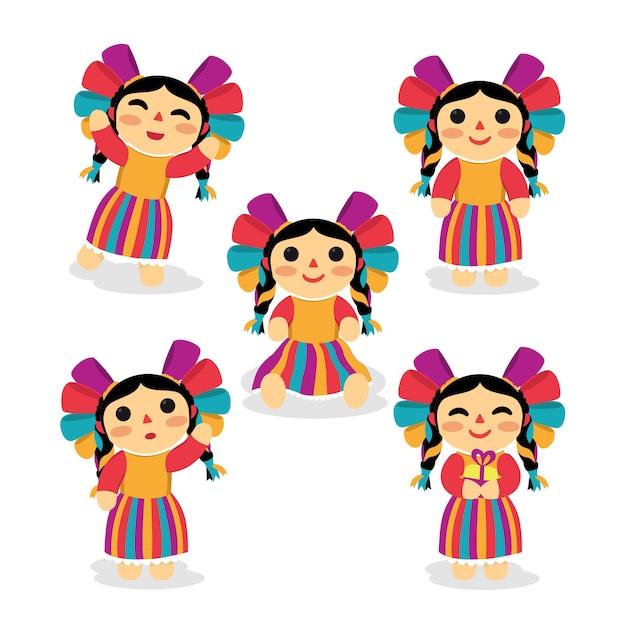 Hermosa muñeca mexicana conjunto de diseño de personajes Vector Premium