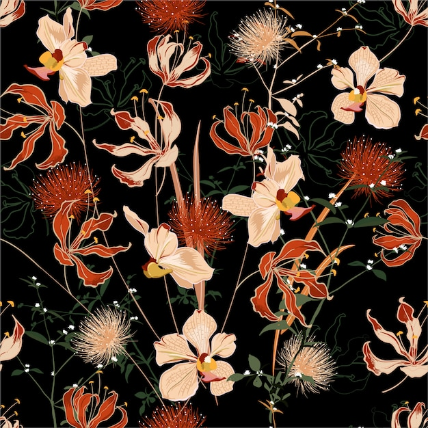 Hermosa noche de verano bosque salvaje lleno de flores en flor en muchos tipos de patrones sin fisuras florales. Vector Premium