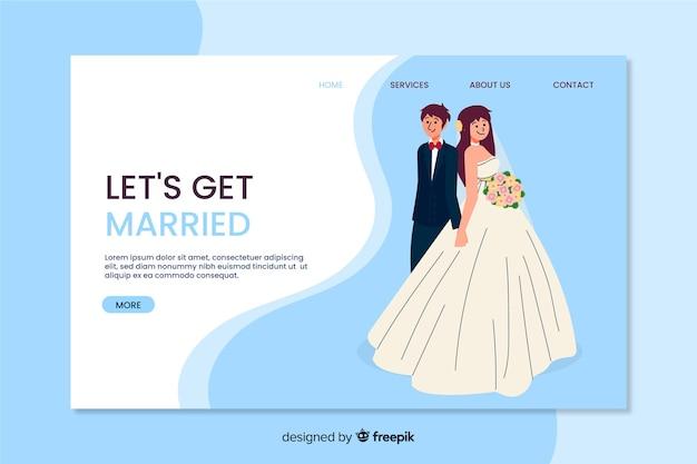 Hermosa página de aterrizaje de boda vector gratuito