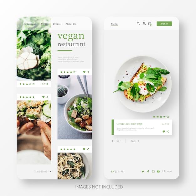 Hermosa página de restaurante de comida vegana para móvil vector gratuito