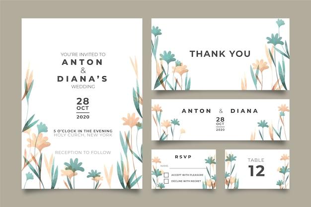 Hermosa papelería de boda floral vector gratuito