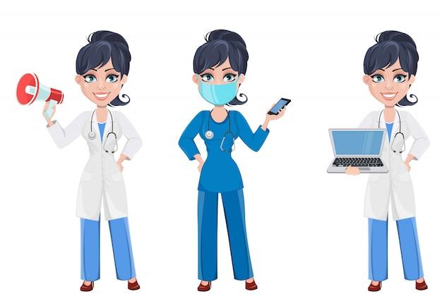 Hermosa personaje de dibujos animados médico. conjunto Vector Premium