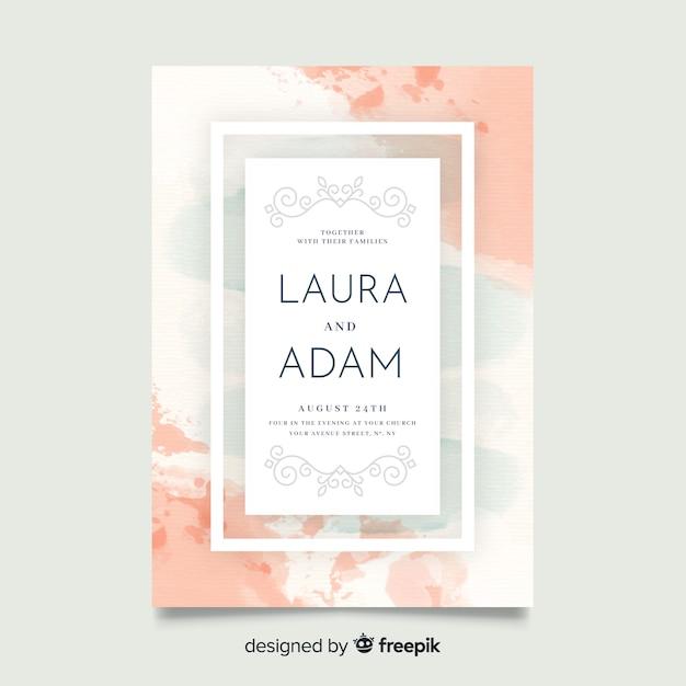 Hermosa plantilla de invitación de boda abstracta pintada a mano vector gratuito