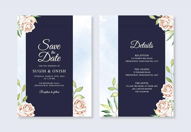 Hermosa plantilla de invitación de boda con flores de acuarela Vector Premium