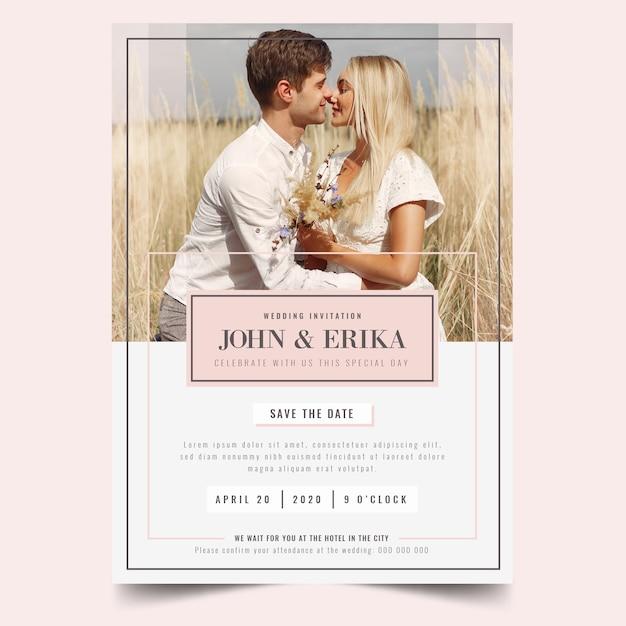 Hermosa plantilla de invitación de boda con foto vector gratuito