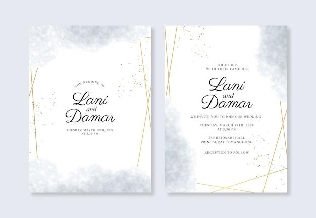 Hermosa plantilla de invitación de boda con salpicaduras geométricas de oro y acuarela Vector Premium