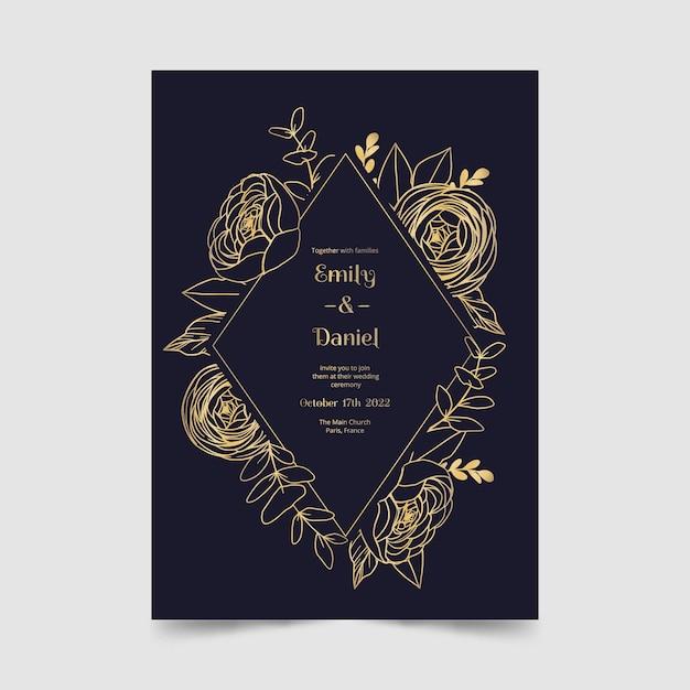 Hermosa plantilla de invitación de boda vector gratuito