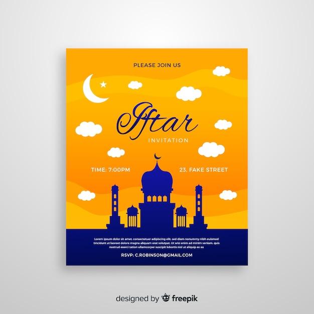 Hermosa plantilla de invitación para iftar vector gratuito