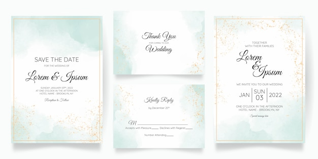 Hermosa plantilla de invitación de tarjeta de boda con acuarela splash Vector Premium