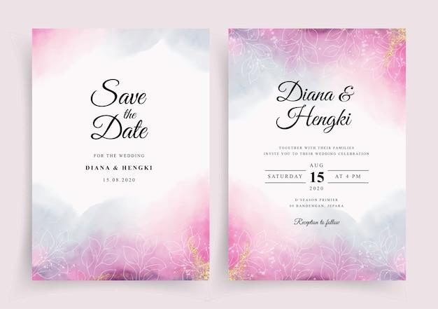 Hermosa plantilla de invitación de tarjeta de boda con fondo de salpicaduras de acuarela Vector Premium
