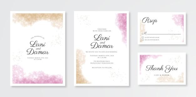 Hermosa plantilla de invitación de tarjeta de boda con salpicaduras de acuarela Vector Premium