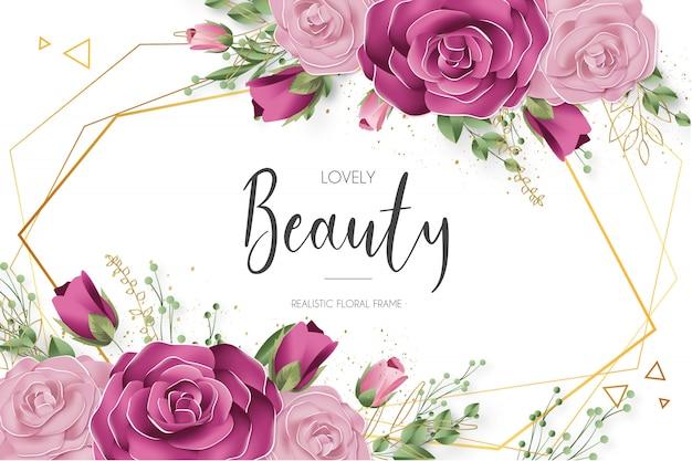 Hermosa plantilla de marco floral realista vector gratuito