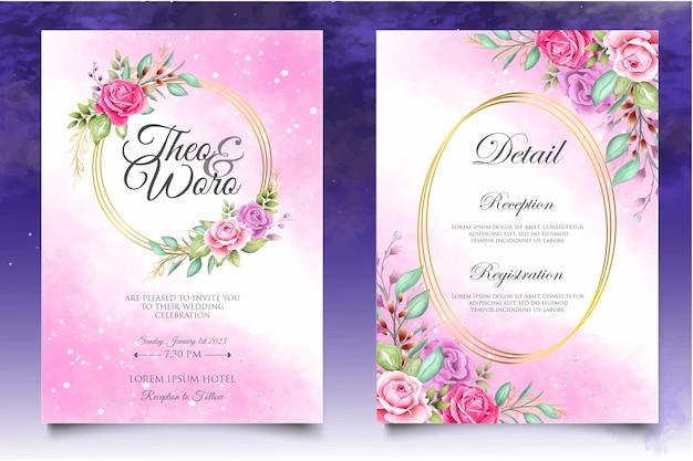 Hermosa plantilla de tarjeta de boda de acuarela floral y splash Vector Premium