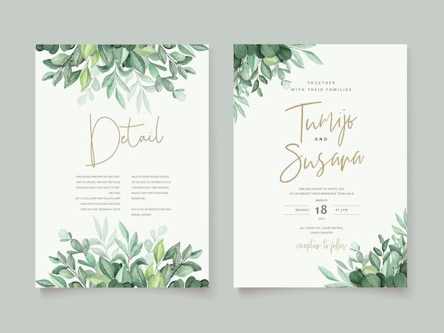 Hermosa plantilla de tarjeta de boda floral acuarela vector gratuito