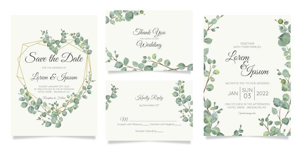 Hermosa plantilla de tarjeta de invitación de boda botánica acuarela con decoración de flores Vector Premium
