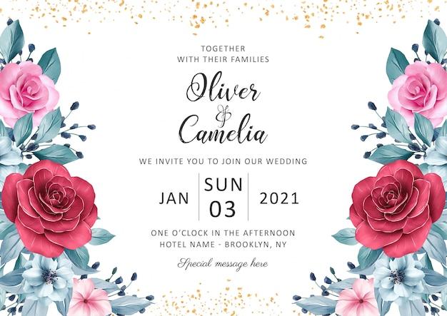 Hermosa plantilla de tarjeta de invitación de boda con decoración floral acuarela y brillo dorado Vector Premium