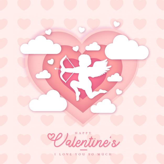 Hermosa plantilla de tarjeta de san valentín feliz vector gratuito