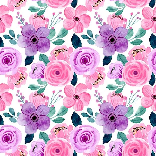Hermosa rosa púrpura acuarela floral de patrones sin fisuras Vector Premium
