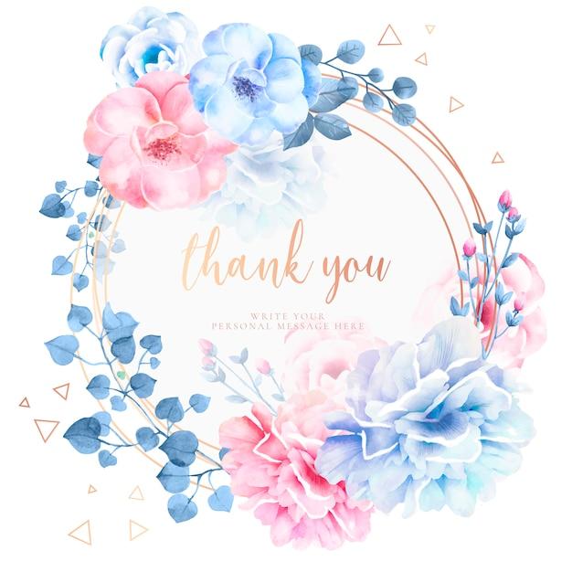 Hermosa tarjeta de agradecimiento con flores de acuarela vector gratuito
