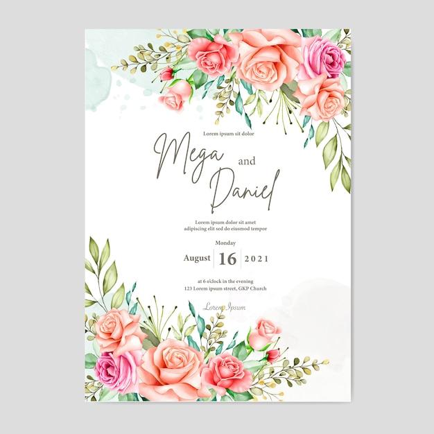 Hermosa tarjeta de boda con fondo de acuarela Vector Premium