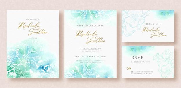 Hermosa tarjeta de boda con salpicaduras de acuarela Vector Premium