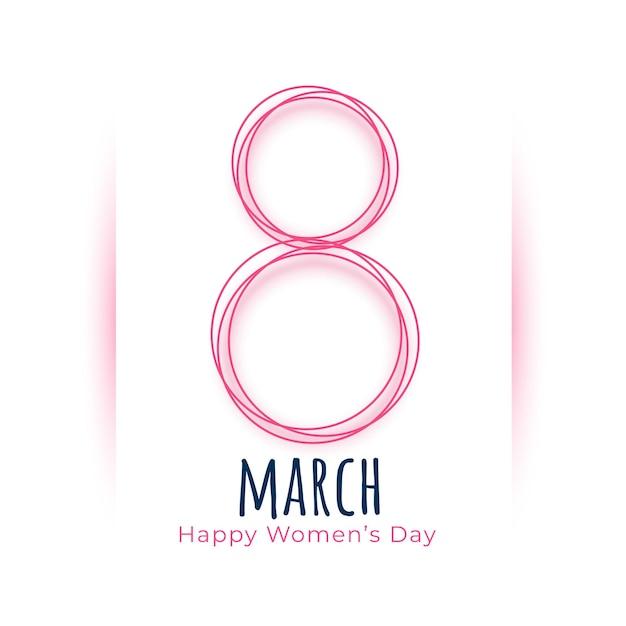 Hermosa tarjeta de celebración del día internacional de la mujer de marzo vector gratuito
