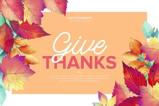 Hermosa tarjeta de felicitación del día de acción de gracias vector gratuito