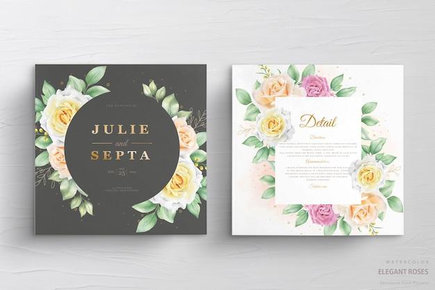 Hermosa tarjeta de invitación de boda en acuarela vector gratuito