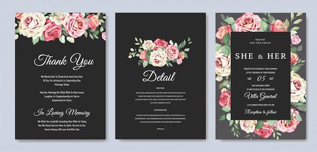Hermosa tarjeta de invitación de boda con corona floral Vector Premium